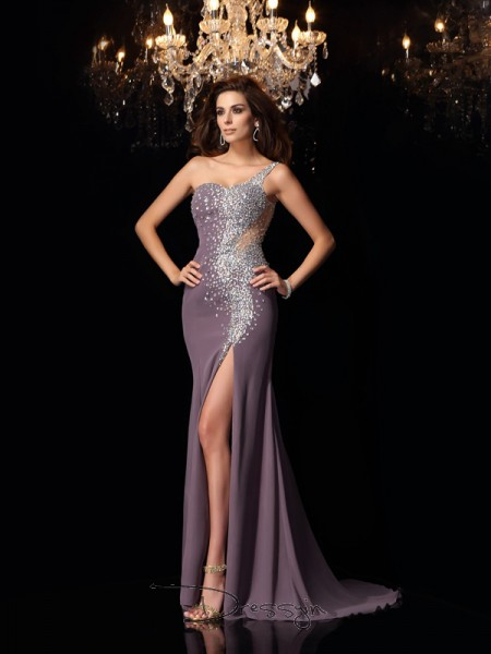 Trumpet/Mermaid One-Shoulder Sleeveless Chiffon Rhinestone Long Dress