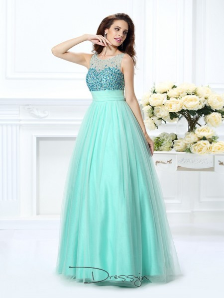 Ball Gown Bateau Sleeveless Chiffon Beading Long Dress