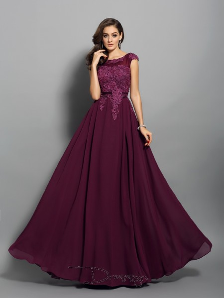 A-Line/Princess Scoop Sleeveless Chiffon Applique Long Dress