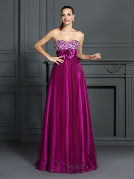 A-Line/Princess Sweetheart Sleeveless Elastic Woven Satin Hand-Made Flower Long Dress