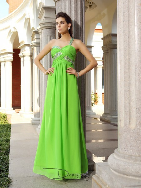 Sheath/Column One-Shoulder Sleeveless Chiffon Beading Long Dress