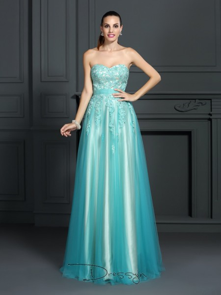 A-Line/Princess Sweetheart Sleeveless Elastic Woven Satin Applique Long Dress