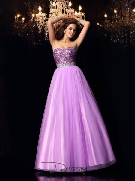 Ball Gown Sweetheart Sleeveless Elastic Woven Satin Sequin Long Dress
