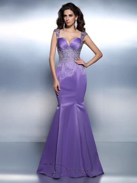 Trumpet/Mermaid Sweetheart,Straps Sleeveless Satin Beading Long Dress
