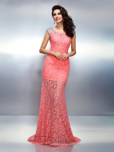 Trumpet/Mermaid Bateau Sleeveless Satin Beading Long Dress