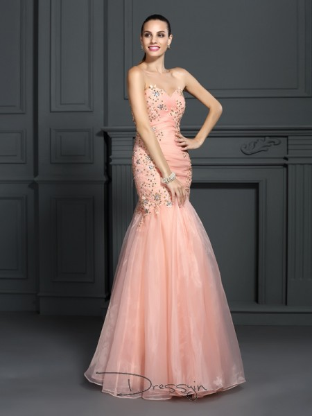 Trumpet/Mermaid Sweetheart Sleeveless Organza Applique Long Dress