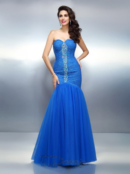 Trumpet/Mermaid Sweetheart Sleeveless Satin Rhinestone Long Dress