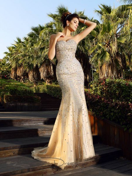 Trumpet/Mermaid Sweetheart Sleeveless Satin Beading Court Train Dress