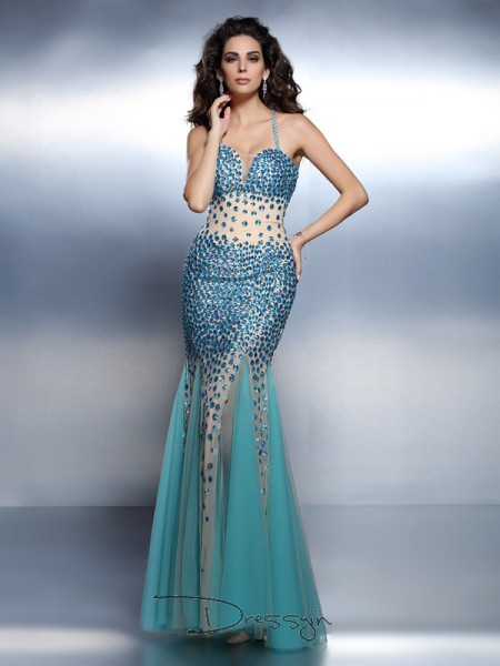 Trumpet/Mermaid Spaghetti Straps Sleeveless Satin Rhinestone Long Dress