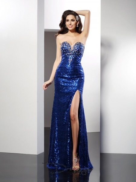 Sheath/Column Sweetheart Sleeveless Sequins Sequin Long Dress