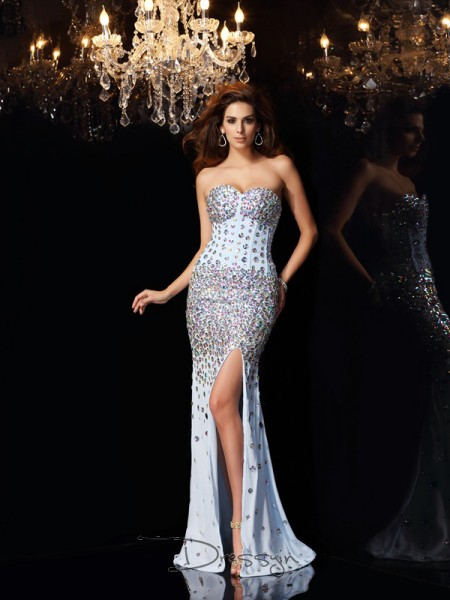 Trumpet/Mermaid Sweetheart Sleeveless Chiffon Rhinestone Long Dress