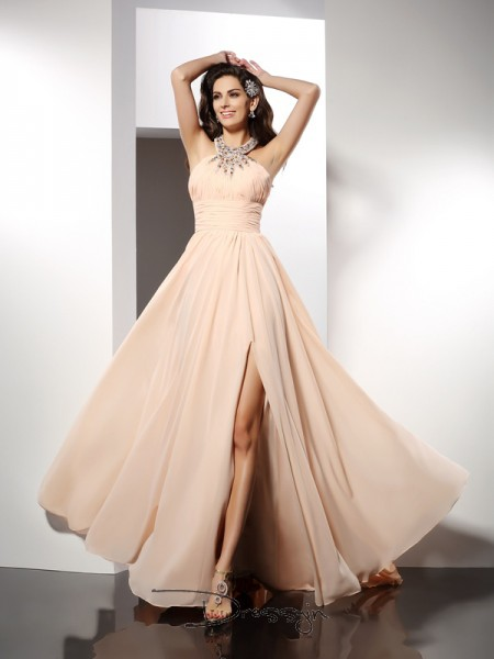 A-Line/Princess Jewel Sleeveless Chiffon Ruffles Long Dress