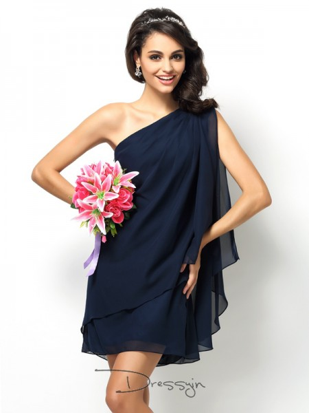 A-Line/Princess One-Shoulder Sleeveless Chiffon Short Bridesmaid Dress