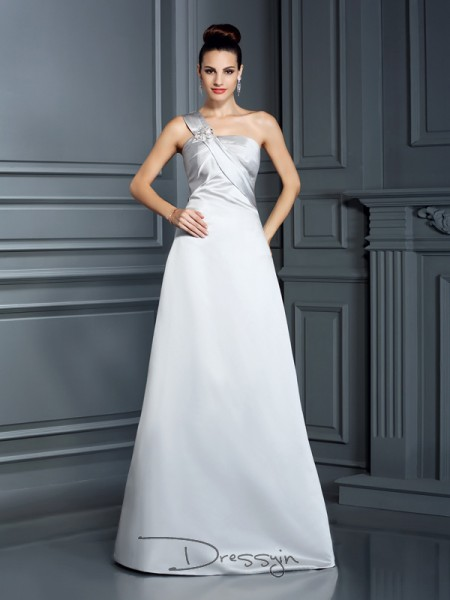 A-Line/Princess One-Shoulder Sleeveless Satin Long Dress