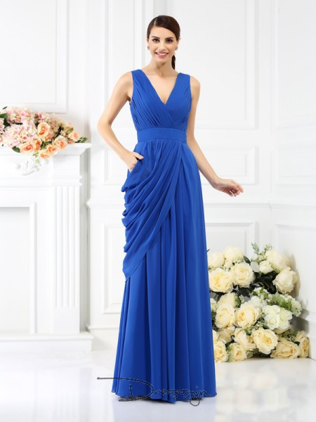 A-Line/Princess V-neck Sleeveless Chiffon Pleats Long Bridesmaid Dress