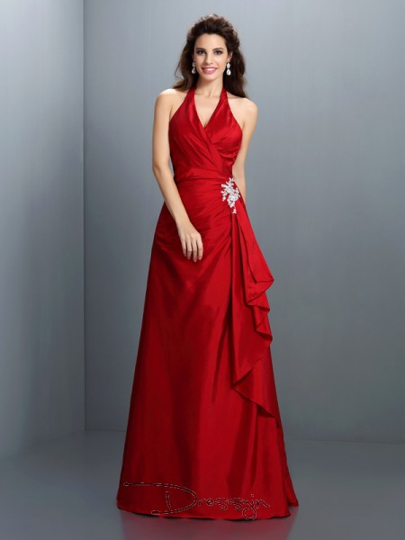 A-Line/Princess Halter Sleeveless Taffeta Beading Long Dress