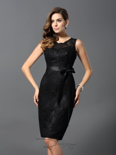 Sheath/Column Jewel Sleeveless Satin Knee-Length Dress