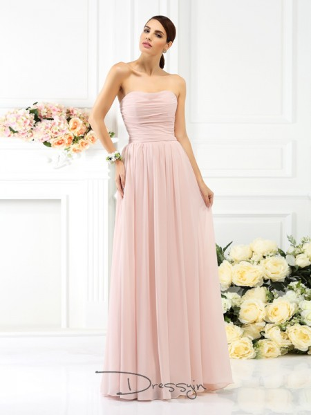 A-Line/Princess Strapless Sleeveless Chiffon Pleats Long Bridesmaid Dress