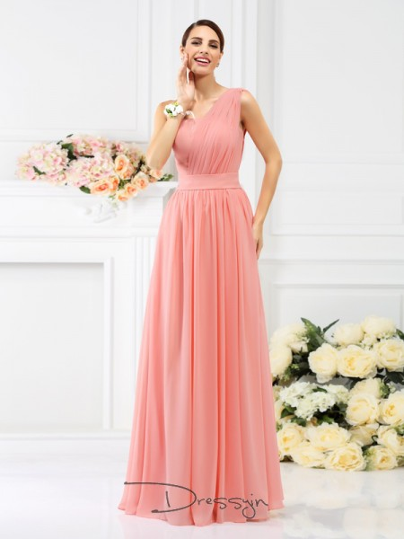 A-Line/Princess One-Shoulder Sleeveless Chiffon Pleats Long Bridesmaid Dress