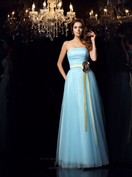 Ball Gown Strapless Sleeveless Satin Sash/Ribbon/Belt Long Dress