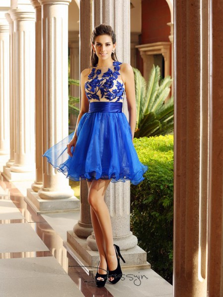 A-Line/Princess Bateau Sleeveless Net Beading Short Dress