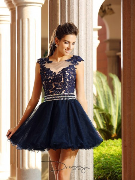 A-Line/Princess Scoop Sleeveless Tulle Applique Short Dress