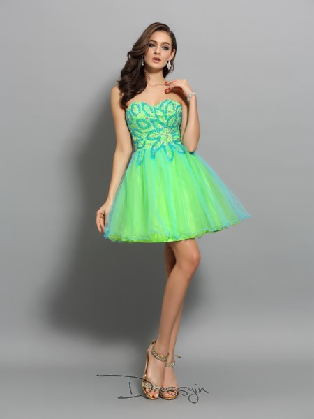 A-Line/Princess Sweetheart Sleeveless Net Beading Short Dress