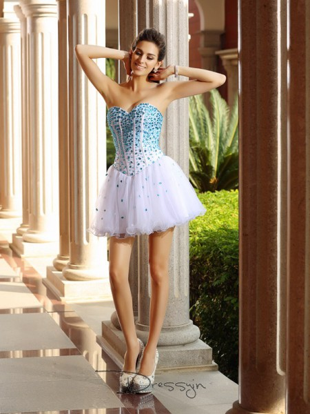 A-Line/Princess Sweetheart Sleeveless Tulle Ruffles Short Dress