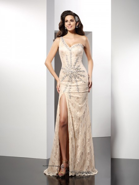 Sheath/Column One-Shoulder Sleeveless Elastic Woven Satin Long Dress