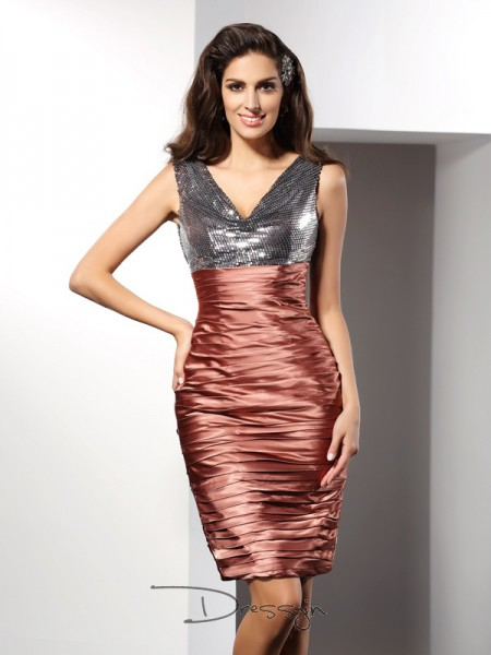 Sheath/Column V-neck Sleeveless Silk like Satin Knee-Length Dress