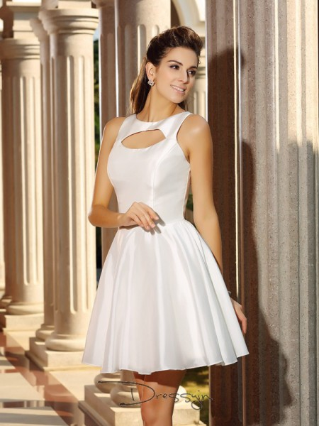 A-Line/Princess High Neck Sleeveless Satin Short Dress