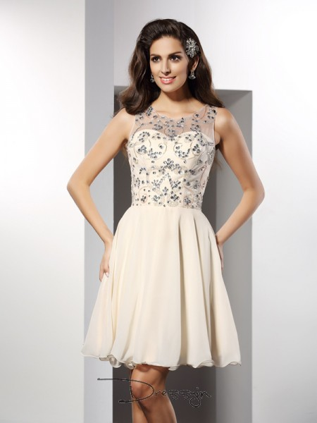 A-Line/Princess Bateau Sleeveless Chiffon Beading Short Dress