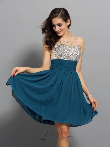 A-Line/Princess Bateau Sleeveless Chiffon Rhinestone Short Dress