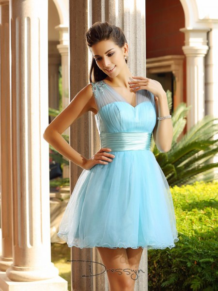 A-Line/Princess V-neck Sleeveless Net Pleats Beading Short Dress