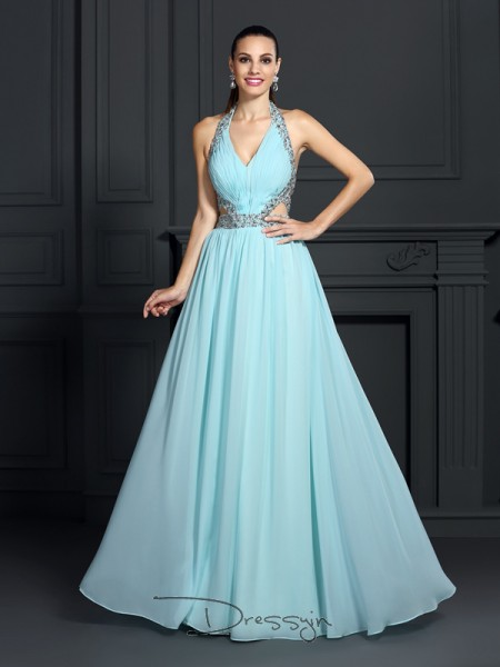 A-Line/Princess Halter Sleeveless Chiffon Beading Long Dress