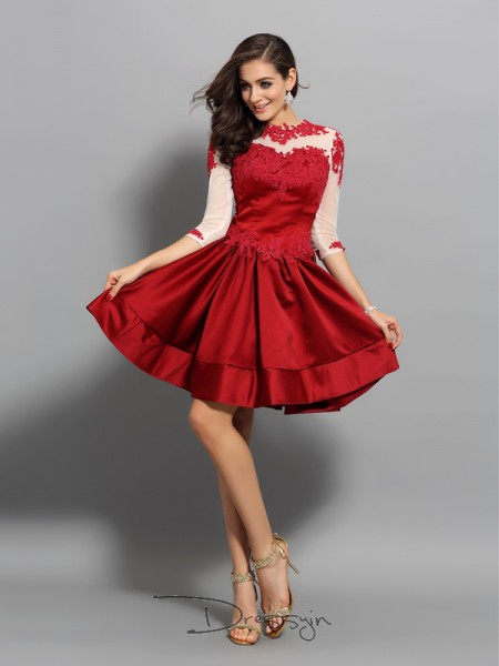 A-Line/Princess High Neck 1/2 Sleeves Satin Applique Short Dress