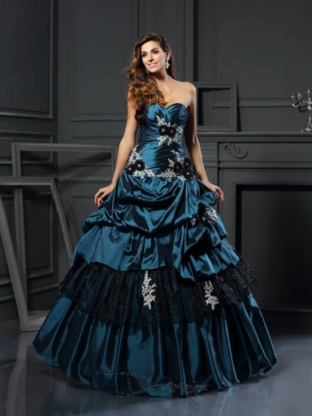 Ball Gown Sweetheart Sleeveless Taffeta Beading Applique Long Dress