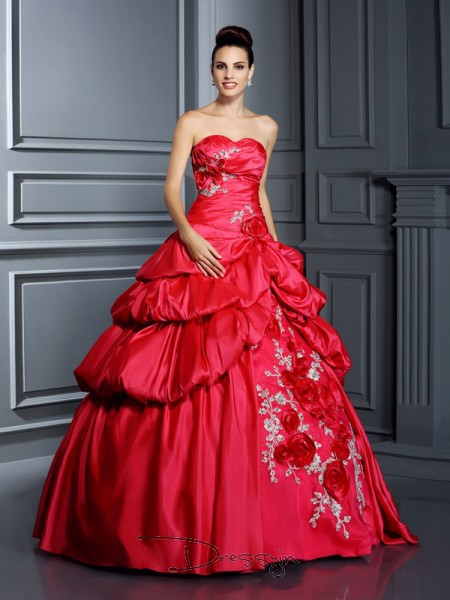 Ball Gown Sweetheart Sleeveless Taffeta Hand-Made Flower Long Dress