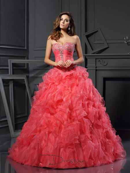 Ball Gown Sweetheart Sleeveless Organza Ruffles Long Dress