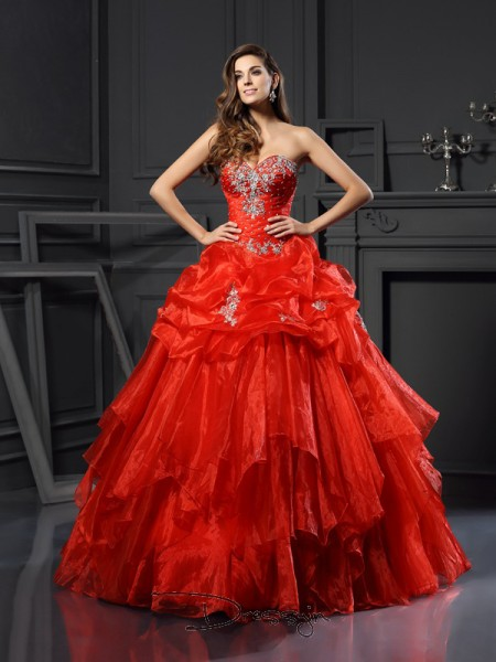 Ball Gown Sweetheart Sleeveless Tulle Beading Long Dress