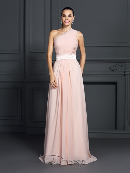 A-Line/Princess One-Shoulder Sleeveless Chiffon Ruffles Long Dress