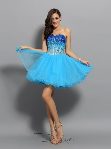 A-Line/Princess Sweetheart Sleeveless Satin Ruffles Short Dress