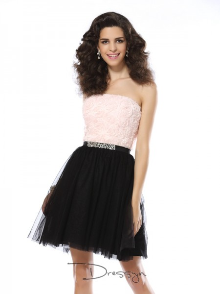A-Line/Princess Strapless Sleeveless Tulle Short Dress