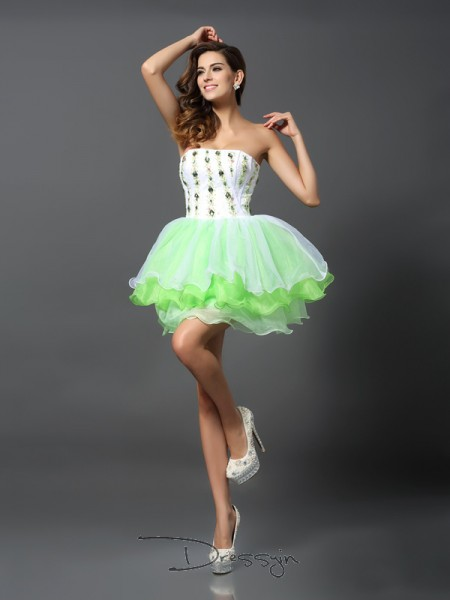 A-Line/Princess Strapless Sleeveless Organza Ruffles Short Dress