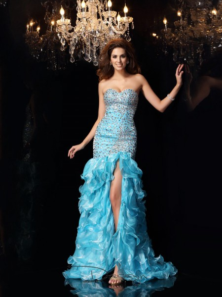 Trumpet/Mermaid Sweetheart Sleeveless Organza Beading Asymmetrical Dress