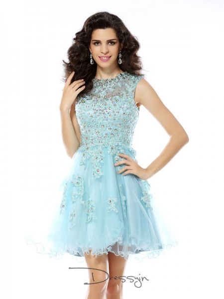 A-Line/Princess Scoop Sleeveless Satin Beading Applique Short Dress