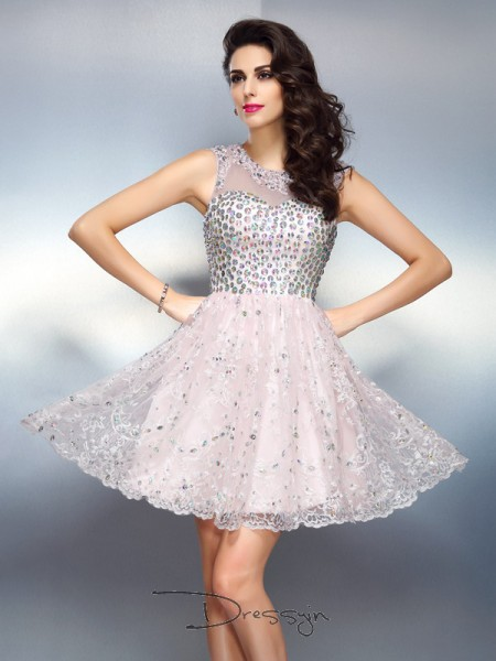 A-Line/Princess Bateau Sleeveless Satin Beading Applique Short Dress