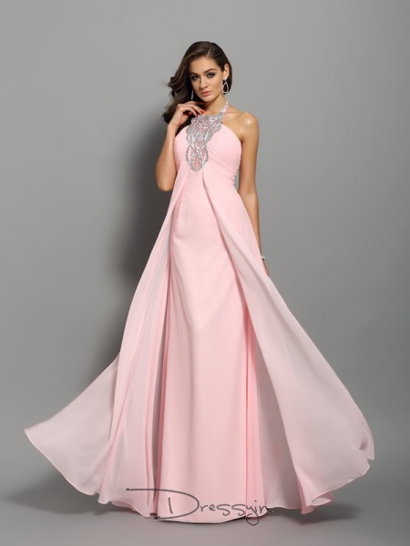 Sheath/Column High Neck Sleeveless Chiffon Beading Long Dress