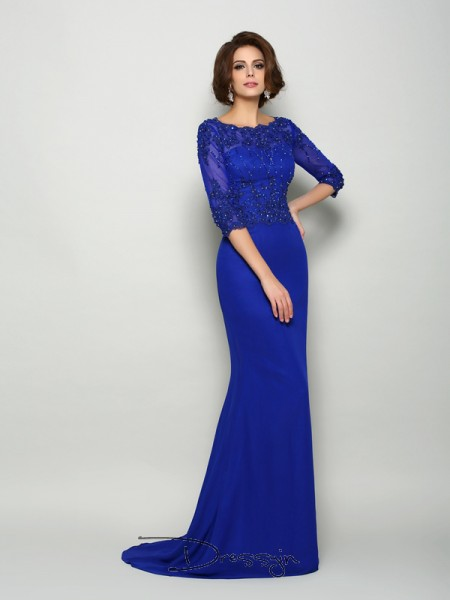 Trumpet/Mermaid Scoop 3/4 Sleeves Chiffon Beading Applique Long Mother of the Bride Dresses
