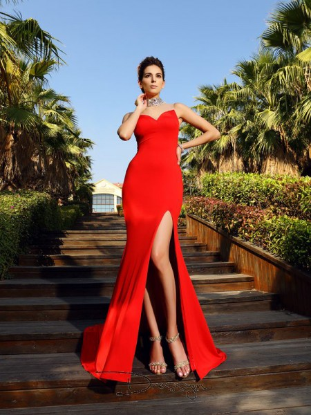 Sheath/Column High Neck Sleeveless Spandex Beading Court Train Dress